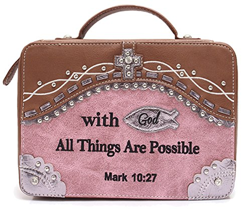 (Embroidery Scripture Bible Verse Mark 10:27 Western Country Bible Cover Handle Books Case Cross Purse (Pink))