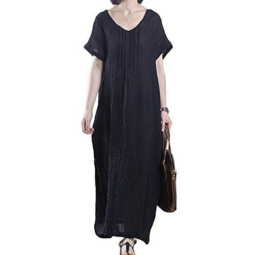 a9ea815544a Amazon.com  Asher Women s Mori Girl Style Sleeveless Linen Casual Loose  Long Vest Dress(One Size