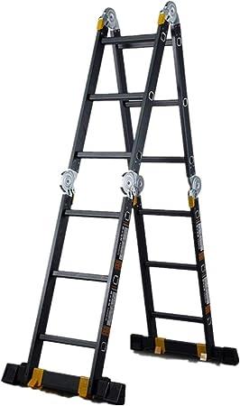 Wenzhihua Escalera telescópica portátil Plegable Escalera casa telescópica Escalera fácil de Empujar hacia Arriba Aluminio Escalera Extensible Ideal Escalera portátil Plegable, Metal, Negro, 151CM: Amazon.es: Hogar