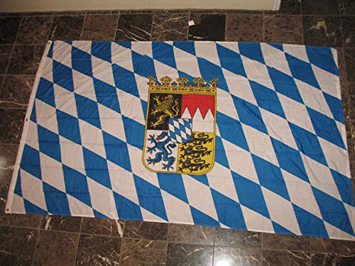 ALBATROS 5ft x 8ft Bavaria Bavarian Crown Coat of Arms Flag Rough Tex Knitted 5inx8in Banner for Home and Parades, Official Party, All Weather Indoors Outdoors