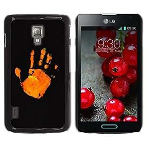 Paccase / SLIM PC / Aliminium Casa Carcasa Funda Case Cover para - Stop Orange Black Minimalistic - LG Optimus L7 II P710 / L7X P714