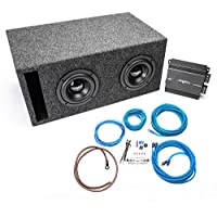 Skar Audio Dual 6.5 800 Watt Complete Subwoofer Bass Package - Includes Subwoofers Loaded in Vented Box with Amplifier