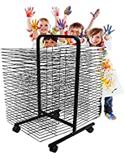 Drying Rack, Back-to-Back 13-Shelf Mobile Art Drying Rack with Wire Shelves for Works of Art, Black Powder Coated Finish,Ideal for Schools and Art Clubs