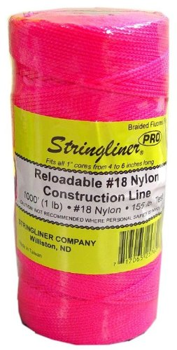 Stringliner 35762 1000' Braided Nylon Construction Line Fluorescent Pink 1-lb. Replacement Roll by Stringliner
