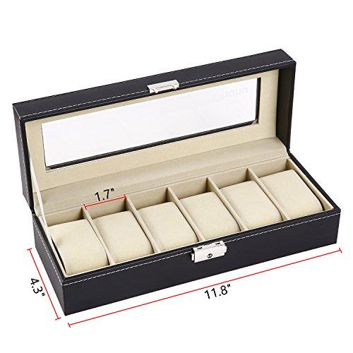 Ohuhu Watch Organizer, 6 Slot Watch Box PU Leather Watches Storage Case Lock Key by Ohuhu (Image #3)