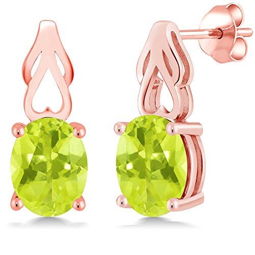 Mm Rose Quartz Necklace - 3.30 Ct Oval Yellow Lemon Quartz 18K Rose Gold Plated Silver Earrings