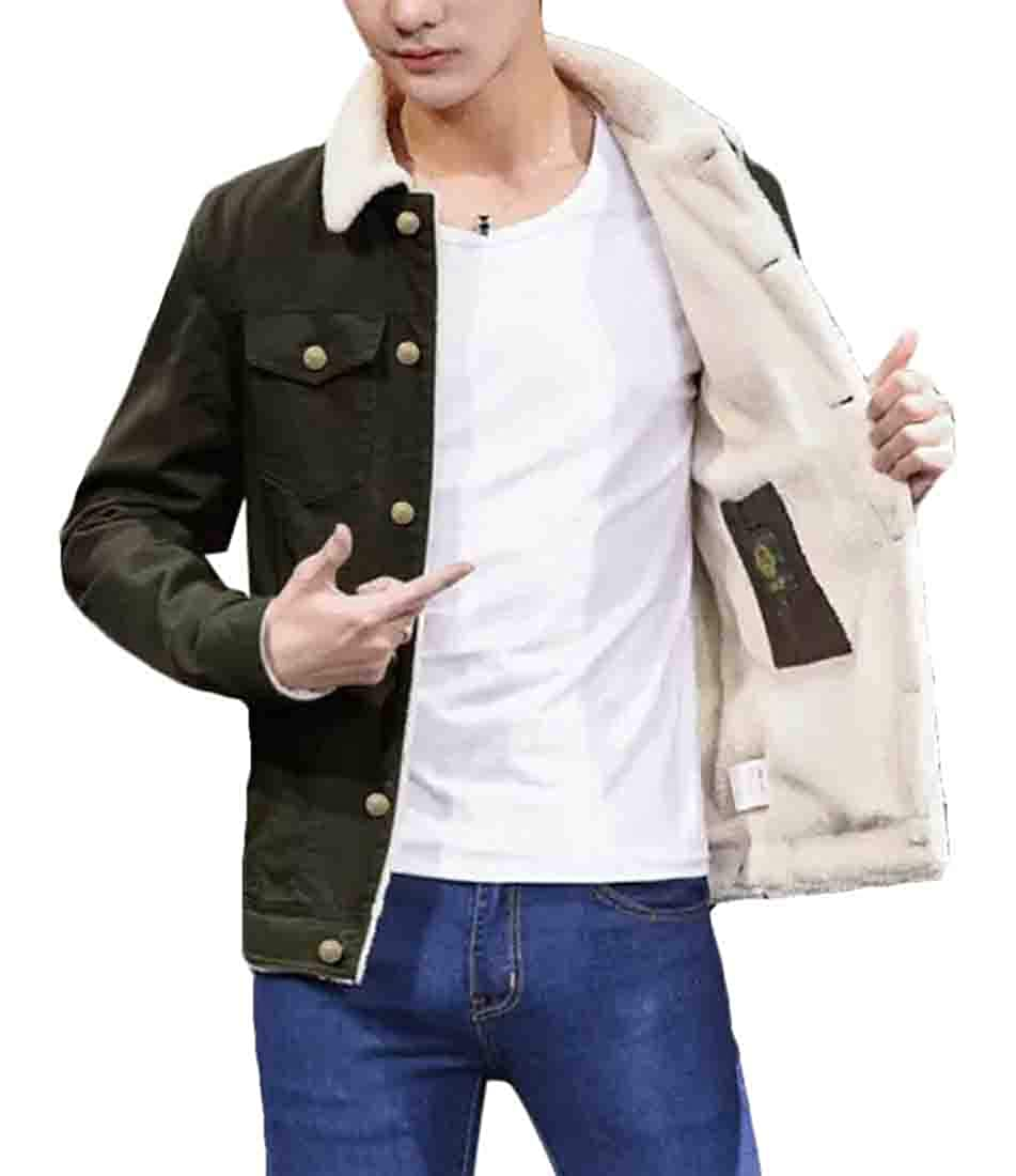 Domple Mens Fleece Linen Quilted Single Breasted Thicken Bomber Jacket Coat
