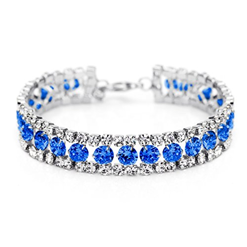 Neoglory Jewelry Platinum Plated Blue Eyes Tennis Link Bangles Bracelets with CZ Mother's day Gift