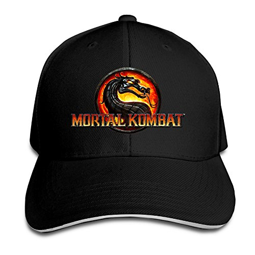 MARC Custom Mortal Kombat Logo Adult Baseball Sandwich Cap Black (Kombat Mortal Dos)