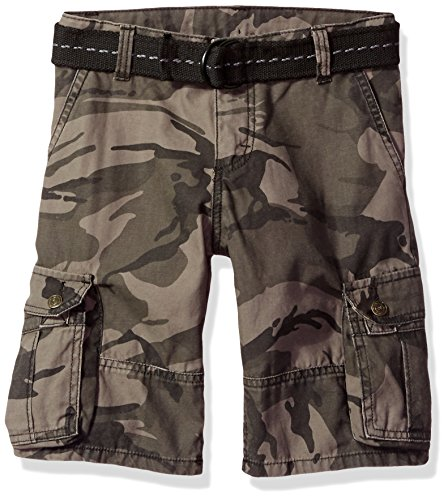 Wrangler Authentics Boys' Fashion Cargo Shorts, Anthracite Camo, 12