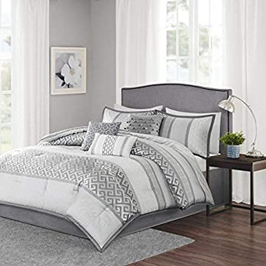 Madison Park Bennett Queen Size Bed Comforter Set Bed in A Bag - Grey, Jacquard Geometric – 7 Pieces Bedding Sets – Faux Silk Bedroom Comforters