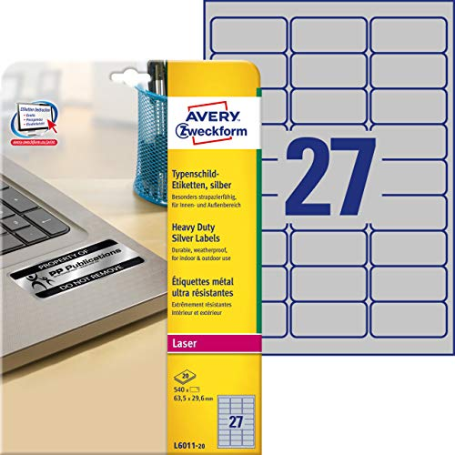 Avery Heavy Duty Laser Labels L6011 - Polyester labels - silver - 1.17 in x 2.5 in - 540 pcs. ( 20 sheet(s) x 27 ) ()