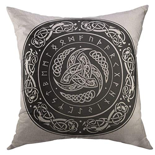 Mugod Decorative Throw Pillow Cover for Couch Sofa,Norse Triple Horn of Odin Decorated with Scandinavic Ornaments Runes Mythology Celtic Home Decor Pillow Case 18x18 Inch