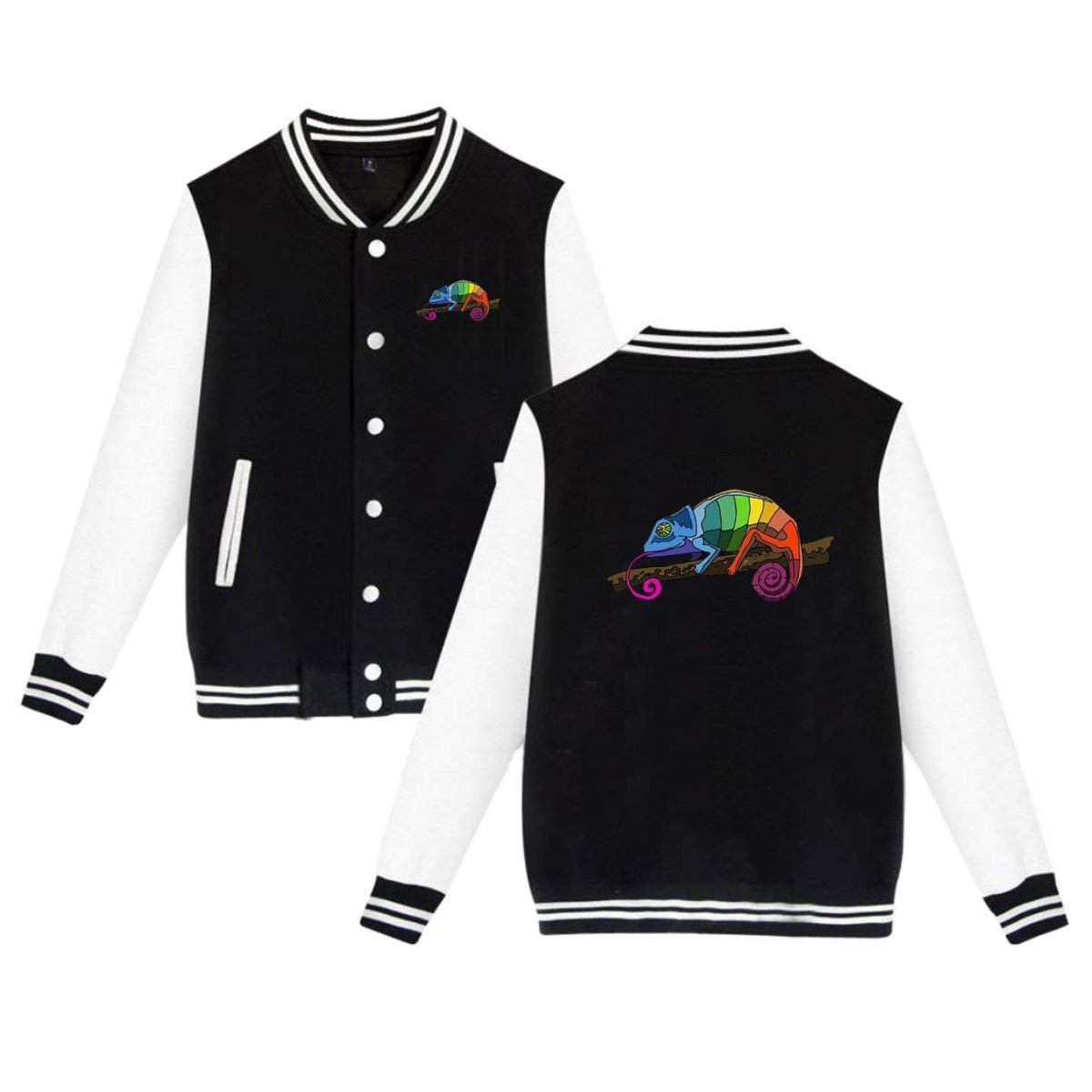 MEILOP Unisex Colorful Chameleon Baseball Jacket Uniform Sweater Coat