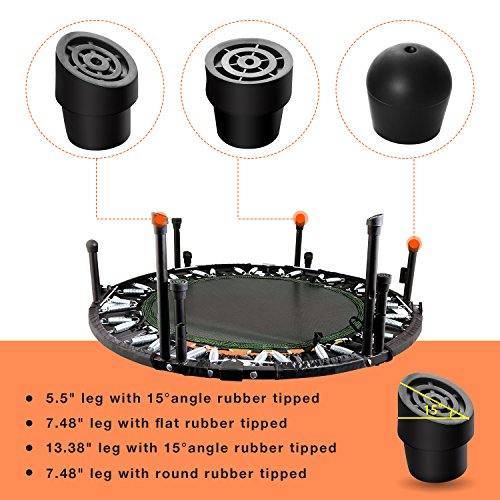 """Jaketen 40"""" Foldable Rebounder Trampoline with Adjustable Handle Indoor Exercise Fitness Mini Trampoline for Adults or Kids"""