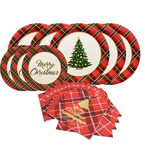 Christmas Tree Paper Dinnerware Set-Serves 20- Including 10 Inches Dinner Plates, Dessert Plates and Buffalo Napkins