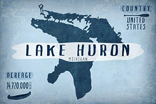 Lake Huron  Michigan   Lake Essentials   Shape  Acreage And County  12X18 Collectible Art Print  Wall Decor Travel Poster