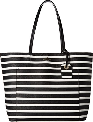Kate Spade New York Women's Hyde Lane Stripe Riley Black/Off-White Handbag (Kate Spade Black And White)