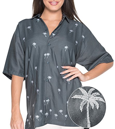 HAWAIIAN CASUAL EMBROIDERED V NECK POINT COLLAR WOMEN'S ALOHA SHIRTS P045 GREY M Valentines Day Gifts 2017