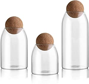 NUTRIUPS Storage Glass Jar Set Food Storage Tank With Wooden Lid 500 ML,800ML,1200ML