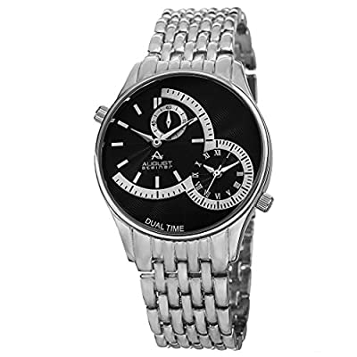August Steiner Men's AS8141SSB Silver Dual Time Zone Quartz Watch with Black Dial and Silver Bracelet