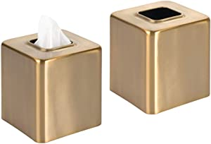 mDesign Modern Square Metal Paper Facial Tissue Box Cover Holder for Bathroom Vanity Countertops, Bedroom Dressers, Night Stands, Desks and Tables - 2 Pack - Soft Brass