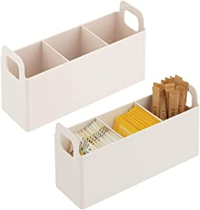 mDesign Kitchen Pantry, Cabinet, Countertop Storage Organizer - Divided Tea Caddy with Handles - Holds Beverage Supplies, Tea Bags, Sugar, Sweeteners, Packets, 2 Pack - Cream/Beige