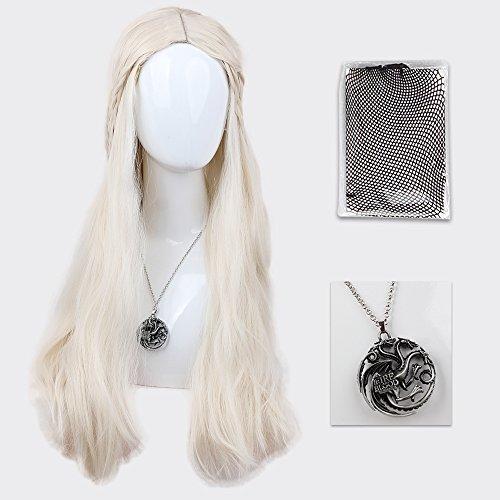 Asifen Halloween Cosplay Wigs Daenerys Targaryen 26  High Temperature Synthetic Fiber Long Curly Hair Halloween Wigs For Women  One Wigs One Wigs Cap One Necklace