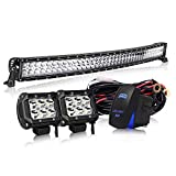 """KEENAXIS DOT Approved 42"""" Curved Led Light Bar On Grille Front Bumper Roof Rack + 4"""" Fog Lights For Truck Polaris Dodge Ram Jeep Cherokee Toyota Tacoma Can Am SXS Yamaha YXZ Wildcat Limited 4x4"""