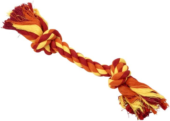 X-Small 6 in Dental Rope 2-Knot Buster Dog Toys Orange
