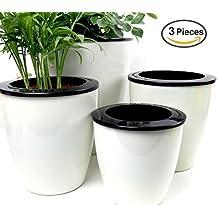 Mkono 3 Pack Self Watering Planter Plastic Plant Flower Pot, M