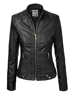 CTC Womens Dressy Vegan Leather Biker Jacket