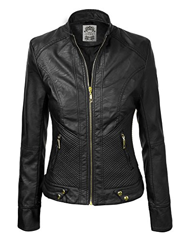 Womens Leather Jacket Stitching Detail product image