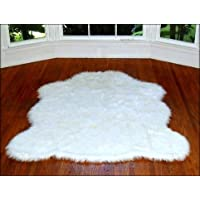 Fur Accents Off White Faux Fur Amazon Polar Bear Area Rug 5x7