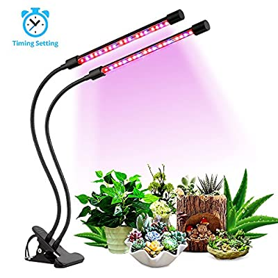 LED Growth Light,18W Dual Head Growing Lamp,36 LED Chips,with Timer Remote Control(3/9/12H),5 Dimmable Levels with Red/Blue Spectrum for Indoor Plants,Greenhouse Hydroponic System Kit[2018 UPGRADED]