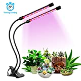 [2018 Upgrade Version] 18W Dual Head Timing Grow Light, 36 LED 5 Dimmable Levels Plant Grow Lights for Indoor Plants with Red/Blue Spectrum, Adjustable Gooseneck, 3/9/12H Timer, 3 Switch Modes For Sale