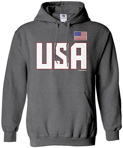 Threadrock Men's USA National Pride Hoodie Sweatshirt M Dark Heather