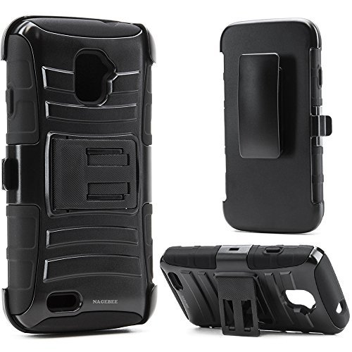 ZTE Rapido LTE Case, Nagebee - ZTE Rapido LTE Z932L Hybrid Armor Stand Case with Holster and Locking Belt Clip with Free Microfiber Cleaning Cloth for ZTE Rapido LTE Z932L - Cover Zte Rapido For Lte Phone