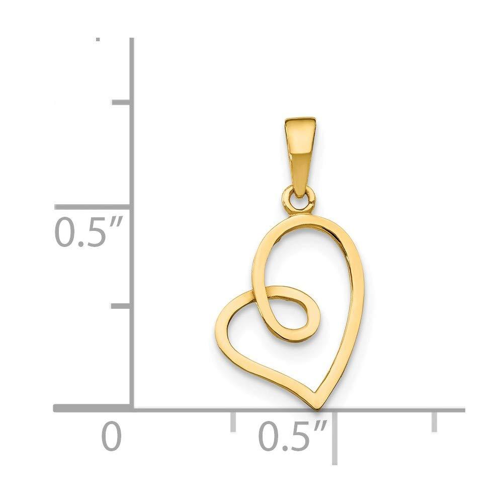 14k Yellow Gold Childrens Heart Pendant