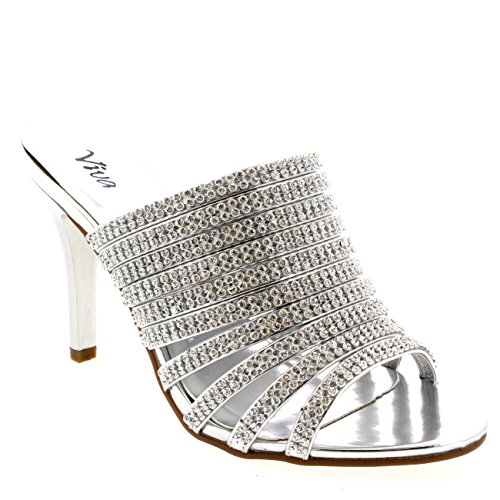 Womens Pumps Diamond Wedding Mules Sandals Prom Evening Low Mid Heels - Silver - 8 - 39 - CD0175H