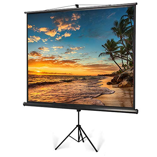 Portable Projector Screen with Foldable Tripod Stand, 100 inch Diagonal 4:3 Indoor Outdoor Movie Screen with Wrinkle-Free Design, Roll-Up HD Projection Screen for Home Theater Cinema Party Office
