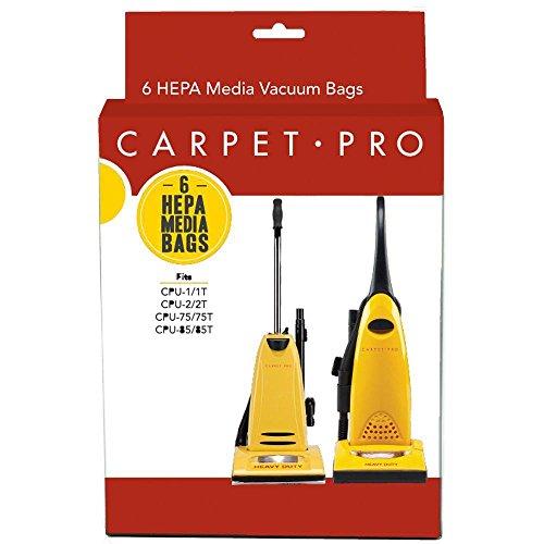 Carpet Pro 6pk HEPA Bags fits CPU1, CPU2, CPU75 & CPU85 (Bags Carpet Pro Vacuum)