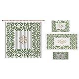 Bathroom 4 Piece Set Shower Curtain Floor mat Bath Towel 3D Print,Celtic,Nostalgic Celtic Art Inspired Square Shape Frame Print with A Flower in The Centre,Green Beige,Picture Print Design.