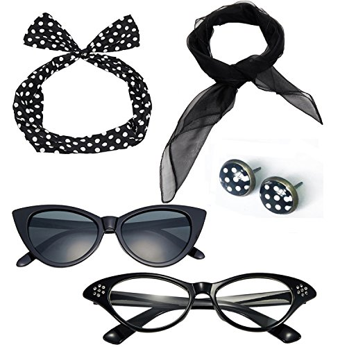 50's Costume Accessories Set Chiffon Scarf Cat Eye Glasses Bandana Tie Headband and Earrings (OneSize, Black)