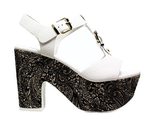 LUCIANO BARACHINI6024B BLANCO NEGRO zapatos de las sandalias del talón, 2016 NUEVA COLECCIÓN PRIMAVERA VERANO 6024