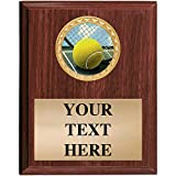 Tennis Plaques - 5x7 Customized Vertical Wood Tennis Trophy Plaque