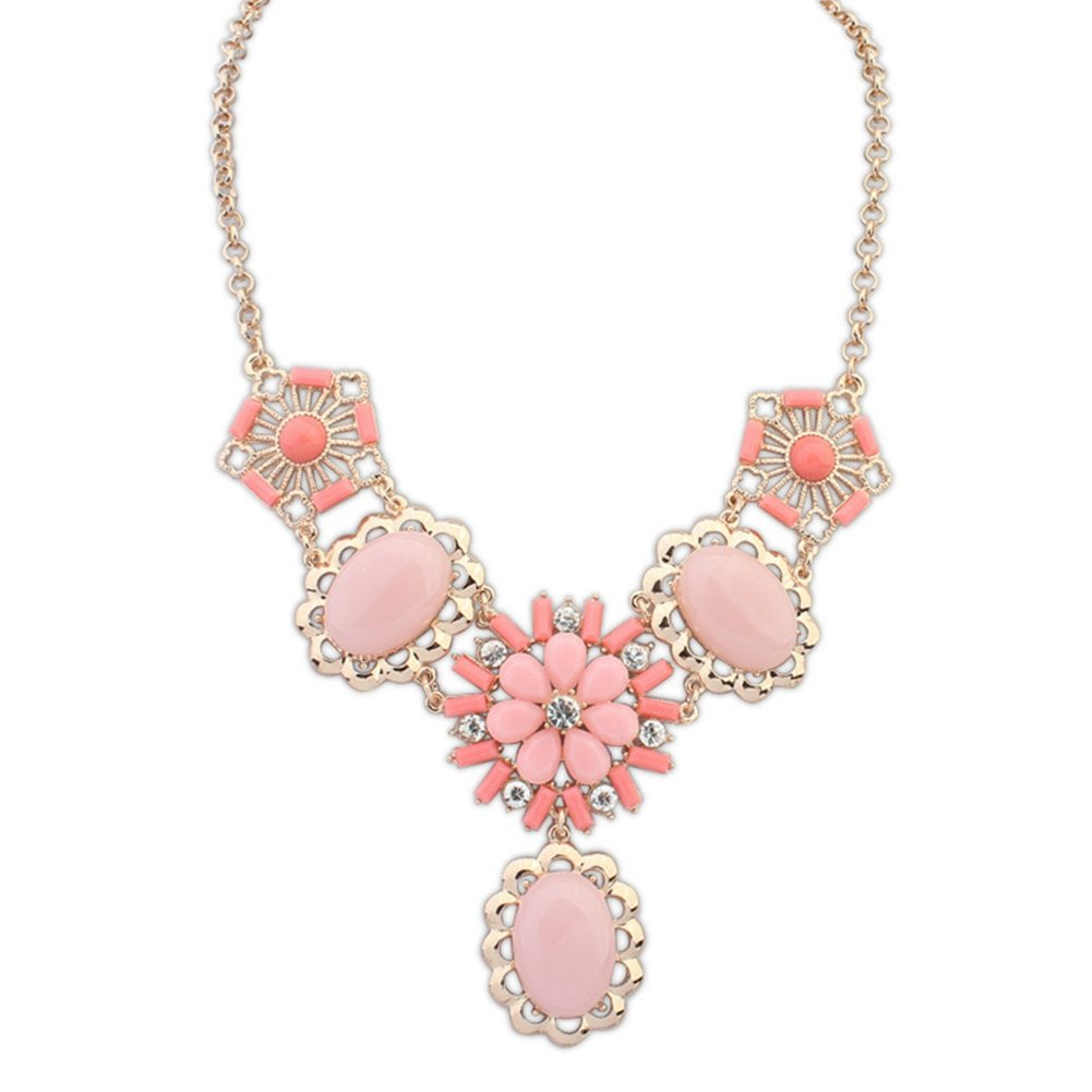 Jude Jewelers Women Bubble Beads Statement Chunky Dress Party Necklace (Pink)