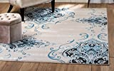 Cheap SUMMIT BY WHITE MOUNTAIN Summit 405blue4/5 Chatham 202 Damask Area Rug Taupe, 5'x7′