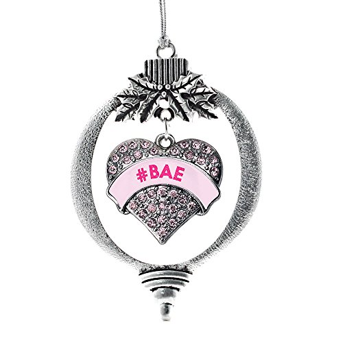 Inspired Silver - #BAE Candy Pink Charm Ornament - Silver Pave Heart Charm Holiday Ornaments with Cubic Zirconia Jewelry