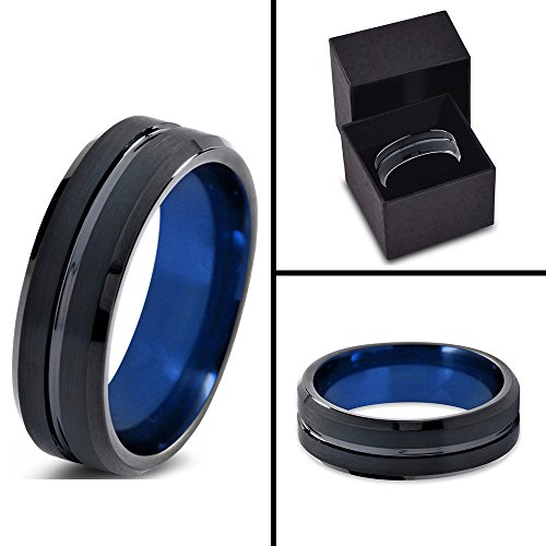 Tungsten Wedding Band Ring 4mm for Men Women Black Blue Beveled Edge Brushed Lifetime Guarantee